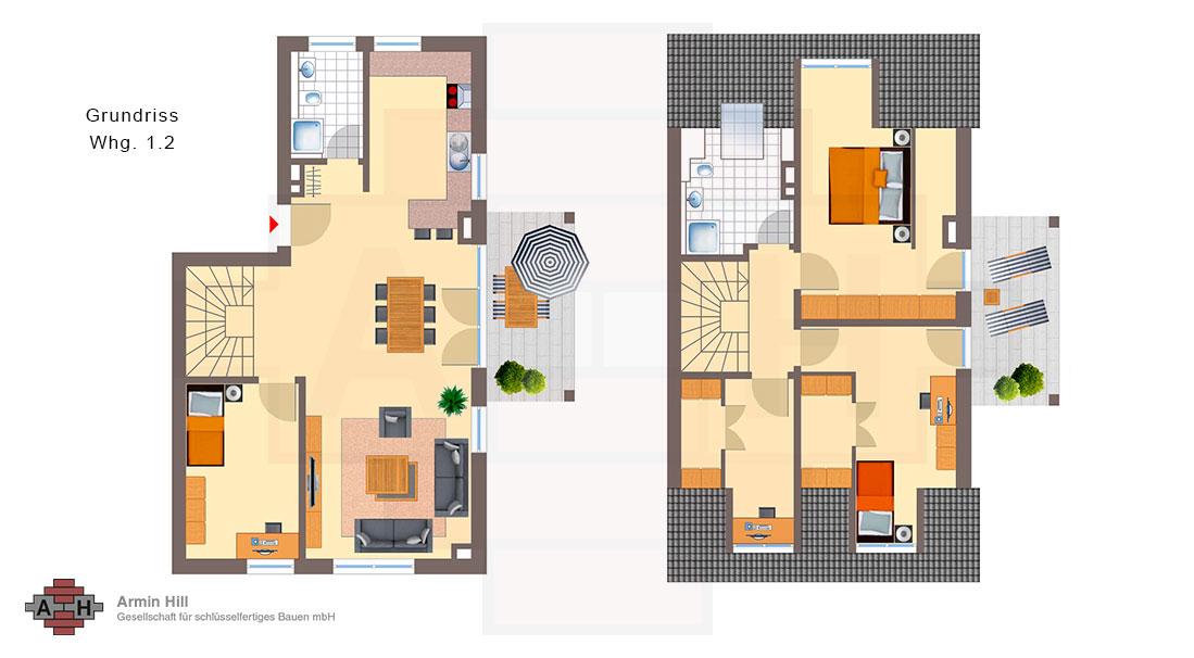 Bauunternehmen Mainz mainz laubenheim 2 doppelhäuser á 2 maissonetten wohnungen im